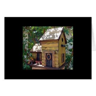 "Folk Art Mustard Planked Birdhouse ""tweet tweet"" Card"