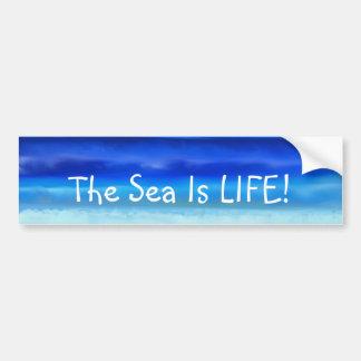 Folk Art Night Ocean Sea is Life Bumper Sticker