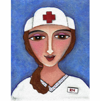 Folk Art Nurse - brunette RN Christmas ornament
