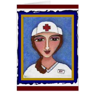 Folk Art Nurse - RN / nursing greeting card