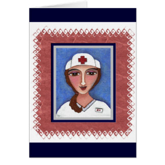 Folk Art Nurse - RN / nursing greeting card