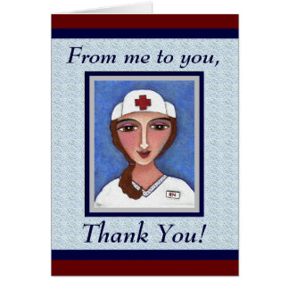 Folk Art Nurse - RN / nursing thank you card