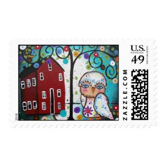 Folk Art OWL By Lori Everett Postage Stamp