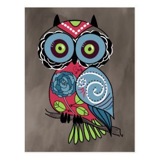 Folk Art Owl - Gorgeous! Postcard
