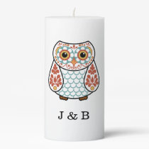 Folk Art Owl Initial Personalized Pillar Candle
