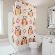 Folk Art Owl on Beige Shower Curtain