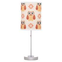 Folk Art Owl on Beige Table Lamp