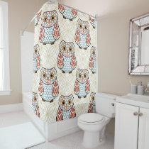 Folk Art Owl on Gold Shower Curtain