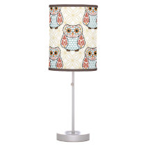 Folk Art Owl on Gold Table Lamp