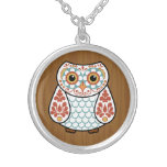Folk Art Owl Silver Plated Necklace
