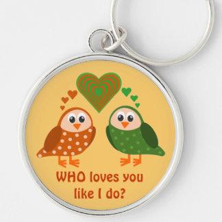 Folk Art Owls Couple WHO Loves You Key Chain