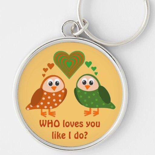 Folk Art Owls Couple WHO Loves You Keychain