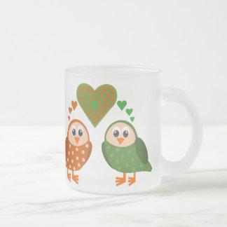 Folk Art Owls Couple WHO Loves You Mugs