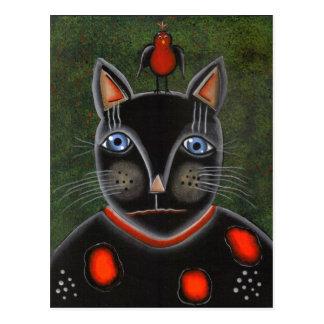 FOLK ART Party Cat BY LORI EVERETT postcard