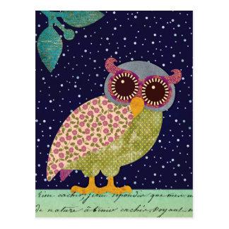 Folk Art Pattern Owl at Night Postcard