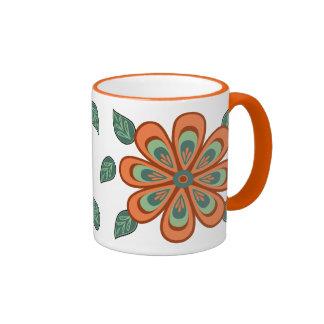 Folk Art Peach and Teal Flower Mug