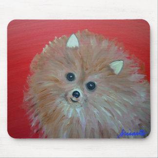 Folk Art Pomeranian Painting by prisarts Mouse Pad
