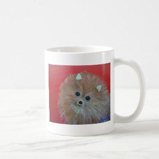 Folk Art Pomeranian Painting by prisarts Classic White Coffee Mug
