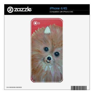 Folk Art Pomeranian Painting by prisarts Skin For The iPhone 4S