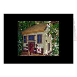 "Folk Art Quilting House Birdhouse ""tweet tweet"" Card"