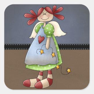 Folk Art Raggedy Doll Square Sticker