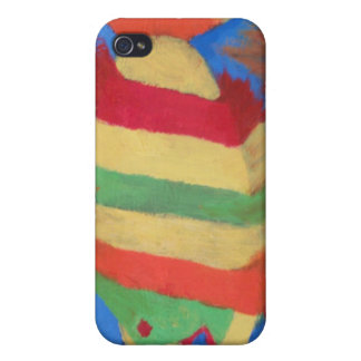 "Folk Art ""Rainbow Fish"" Cell Phone Cover Covers For iPhone 4"