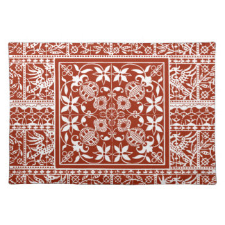 Folk Art Red and White Traditional Decor Placemat