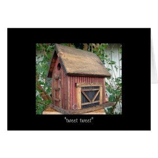 "Folk Art Red Horse-Barn Birdhouse ""tweet tweet"" Card"