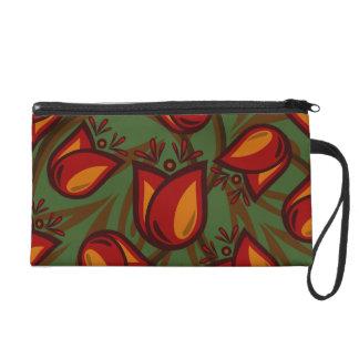 Folk Art Red / Orange Tulip Flower Wristlet