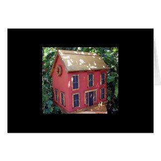 "Folk Art Red Saltbox Birdhouse ""tweet tweet"" Card"