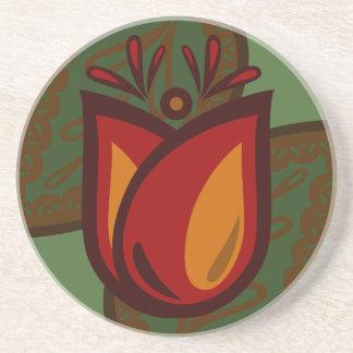 Folk Art Red Tulip Flower Coaster