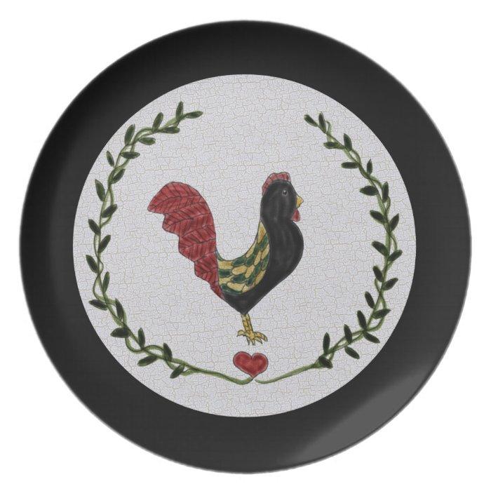 Folk Art Rooster and Heart Garland Plate