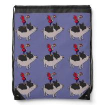 Folk Art Rooster on Pig Backpack