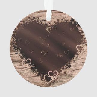 Folk Art Rustic Wood Effect Collage Hearts Ornament