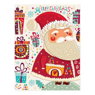 Folk Art Santa Claus Postcard