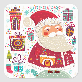 Folk Art Santa Claus Square Sticker