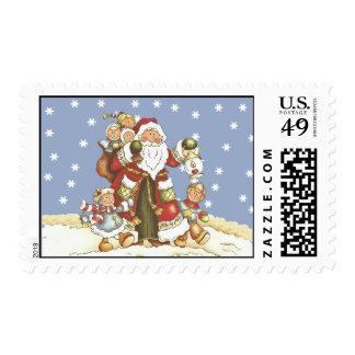 Folk Art Santa Kids Chirstmas Snowflakes Postage