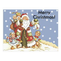 Folk Art Santa Kids Christmas Snowflakes Postcard