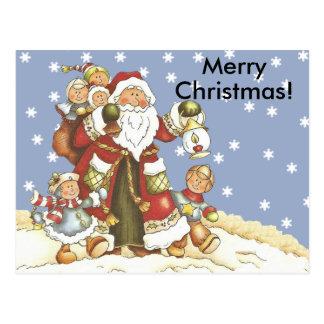 Folk Art Santa Kids Christmas Snowflakes Postcard