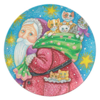 Folk Art Santa & Kittens Christmas plate