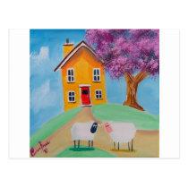 folk art sheep postcard