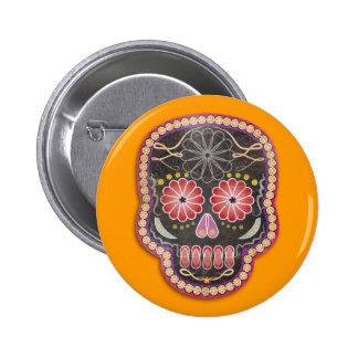 Folk Art Skull - day of the dead Button