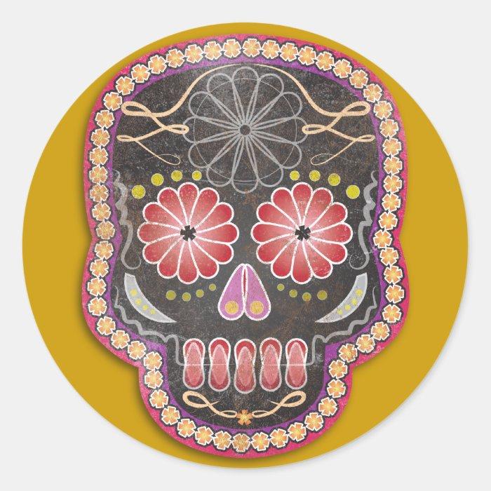 Folk Art Skull - day of the dead Classic Round Sticker