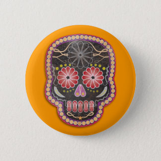 Folk Art Skull - day of the dead Pinback Button