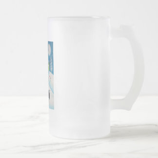 FOLK ART SNOW SCENE COW MOON FROSTED GLASS BEER MUG