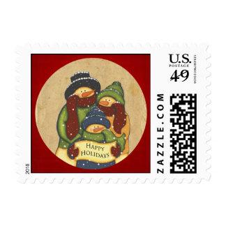 Folk Art Snowman Family Happy Holidays Postage