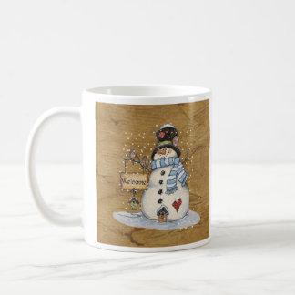 Folk Art Snowman on Old Newspaper Coffee Mug