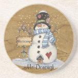 Folk Art Snowman on Old Newspaper Drink Coasters