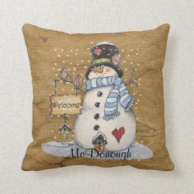 Folk Art Snowman on Old Newspaper Pillows