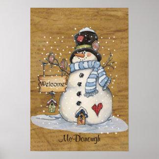 Folk Art Snowman on Old Newspaper Poster